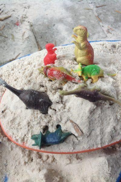Dino dig, Gardening, & a Sleeping toddler
