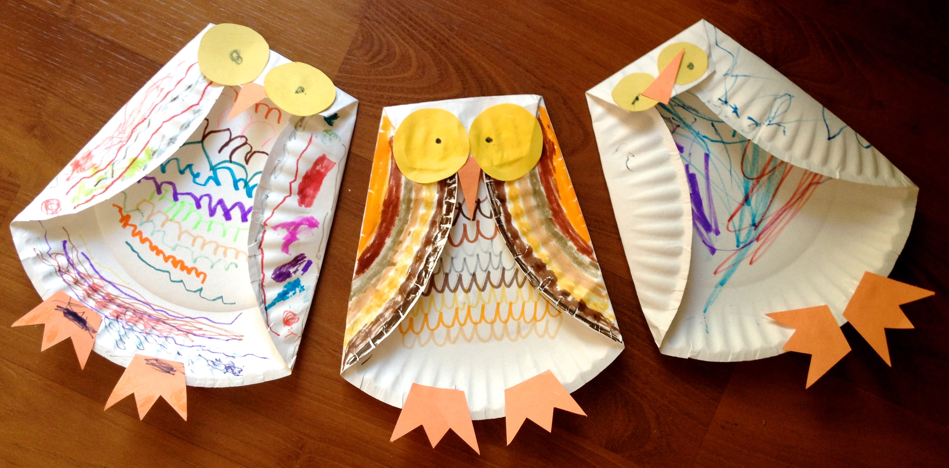 Three paper plate owls our potluck family for Simple fall crafts for kids