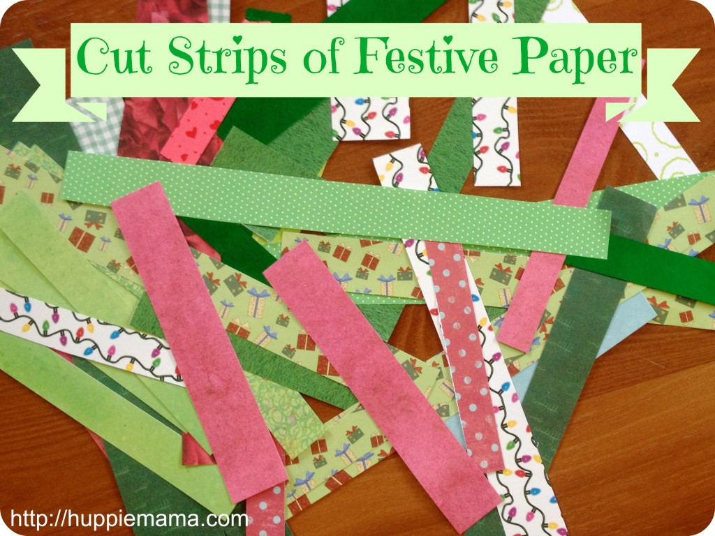 Cut Strips of Festive Paper