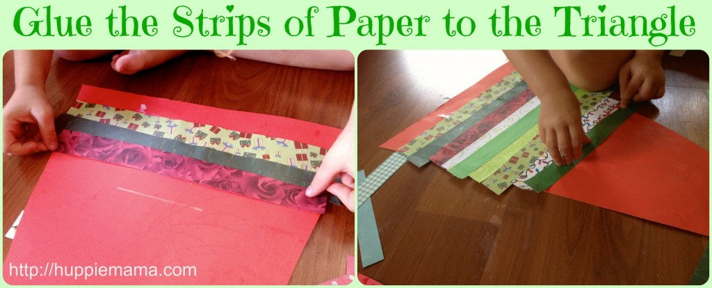 Glue strips of paper