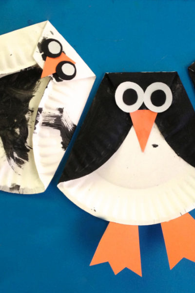 paper plate penguin kids craft