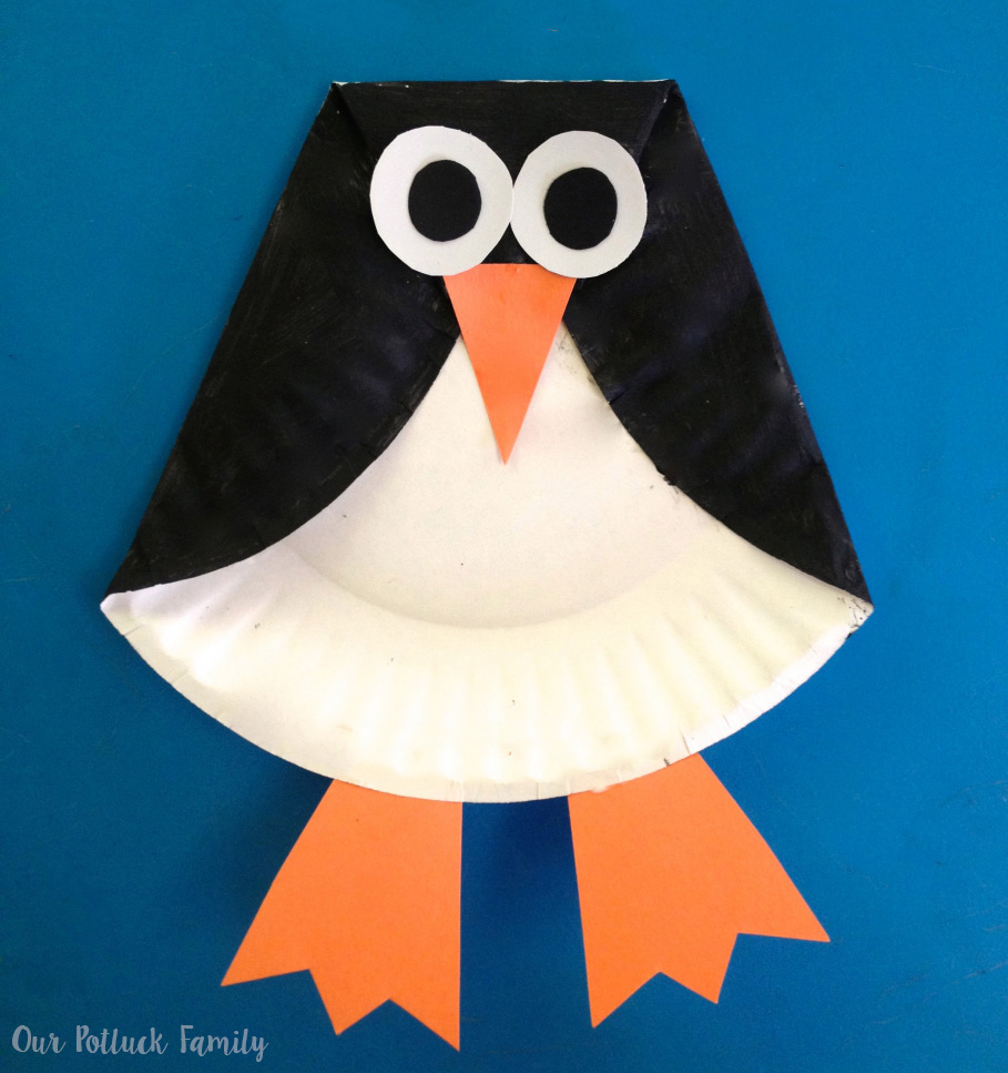 craft work ideas for kids paper plate penguin our potluck family 6385