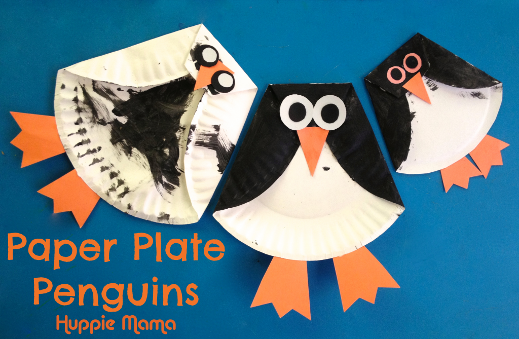 Three Paper Plate Penguins