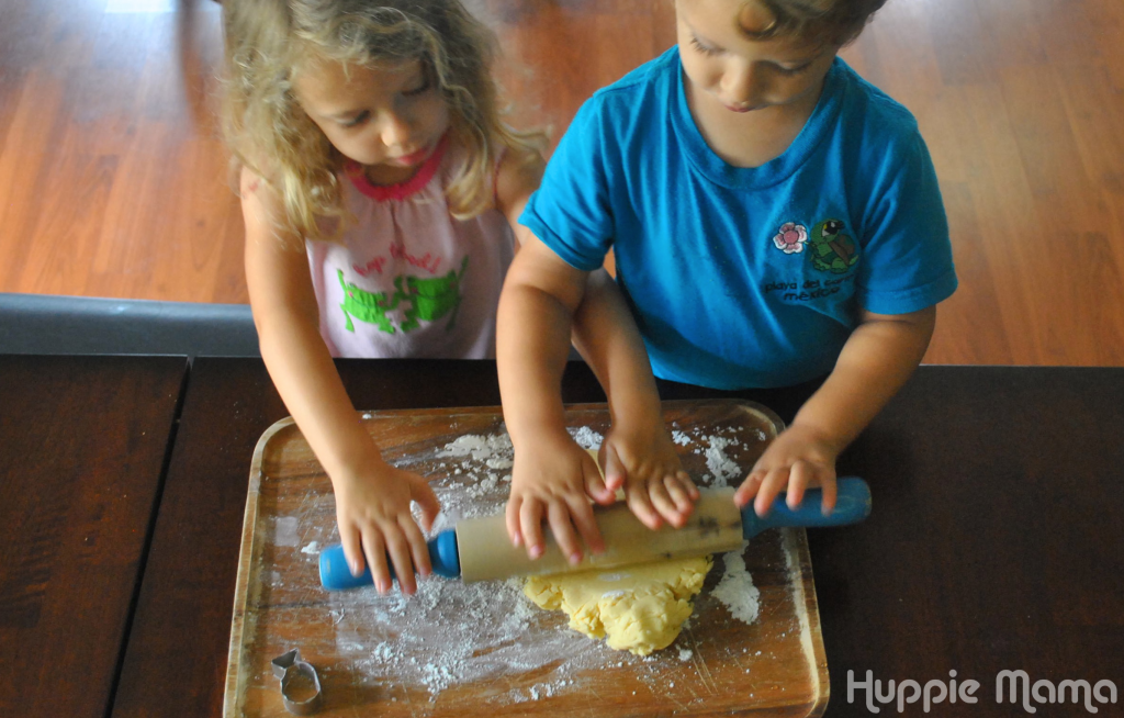 Kids rolling dough