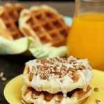 Pecan Roll Waffles with Orange Cream Cheese Glaze