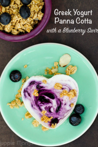 Greek Yogurt Panna Cotta with a Blueberry Swirl