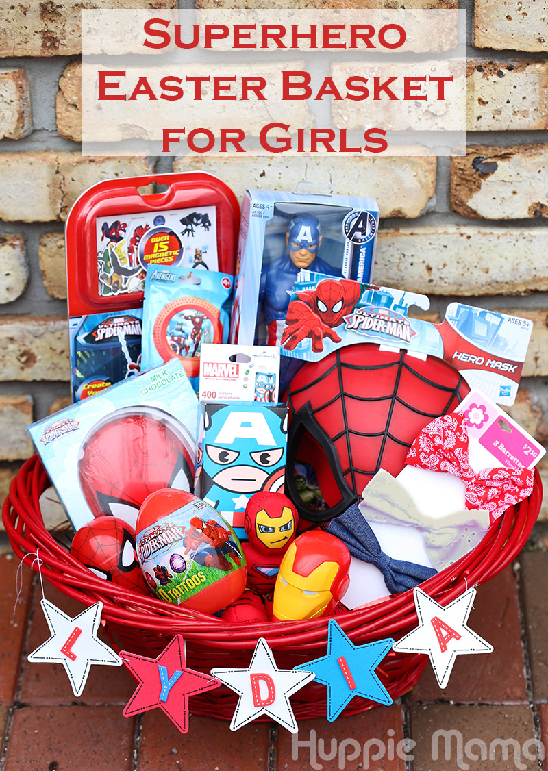 Girls can be superheroes too our potluck family superhero easter basket for girls negle Choice Image