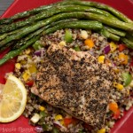 Salmon with Quinoa Salad + Roasted Asparagus