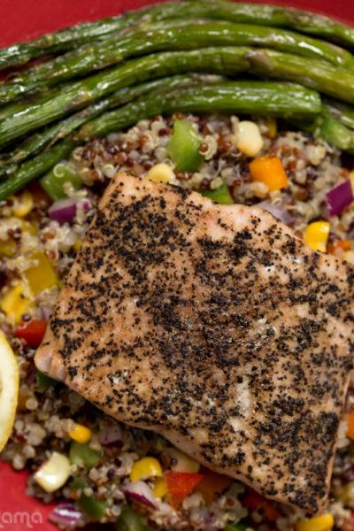 Salmon with Quinoa Salad + Roasted Asparagus