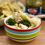 One Pot Chicken + Veggie Pesto Alfredo Penne