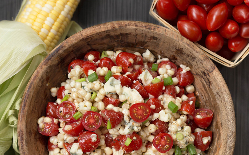 Red {Tomato}, White {Corn}, and Blue {Cheese} Salad