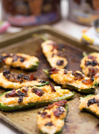 Sweet + Spicy Stuffed Jalapenos