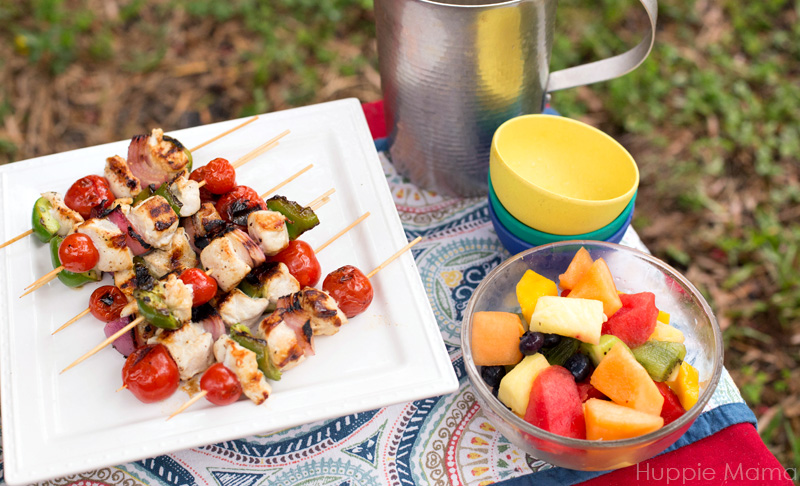 fruit and kebabs