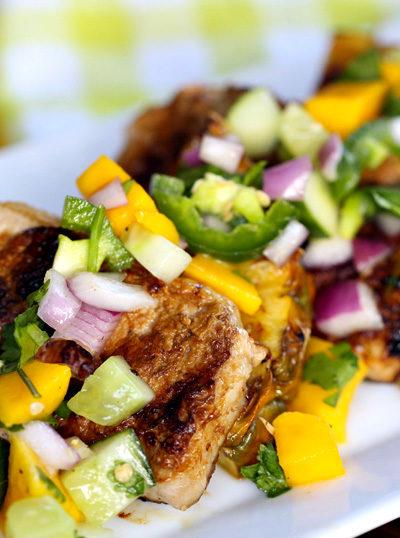 Grilled Pork with Mango Salad