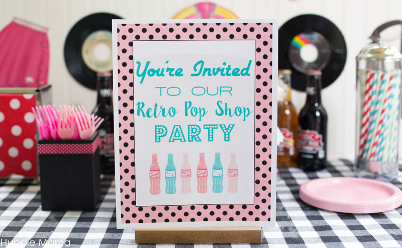 Pop shop party sign