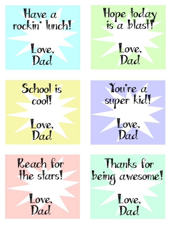 Printable Dad Lunch Notes