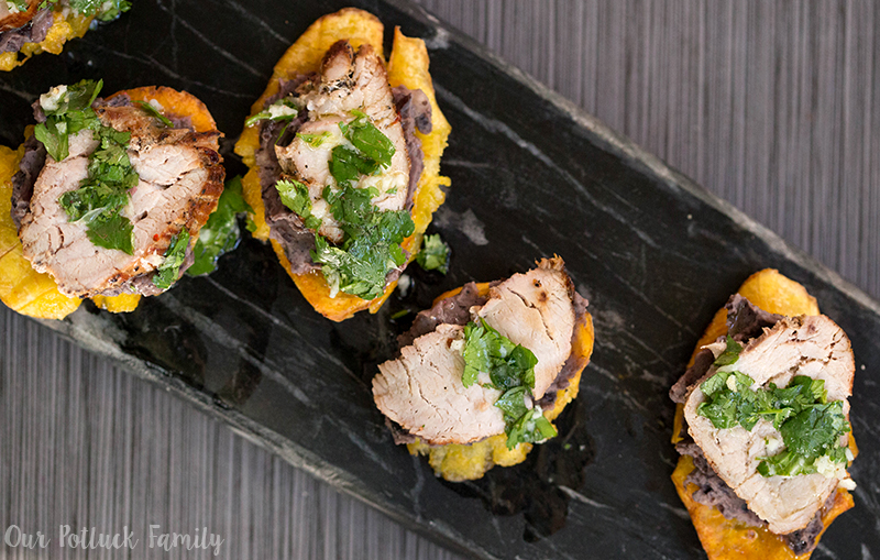 Pork and Tostones with Beans and Cilantro Sauce