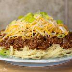Turkey Cincinnati Chili over Spaghetti