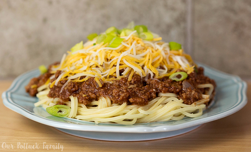 Turkey Cincinnati Chili over Spaghetti