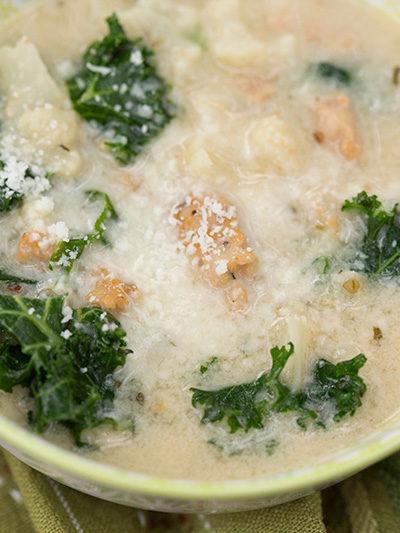 Instant Pot Cheesy Veggie & Sausage Soup