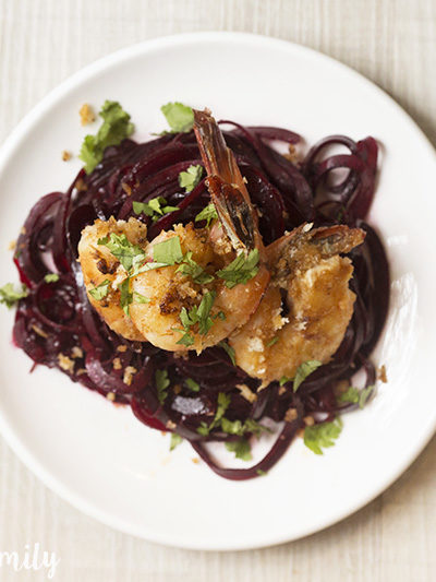 Shrimp Scampi with Beet Noodles Recipe
