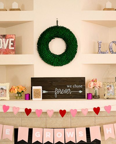 mantle for Valentine's Day