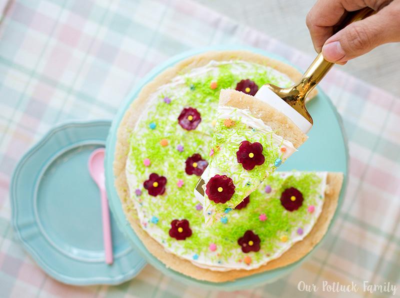 Festive Springtime Sugar Cookie Pizza slice