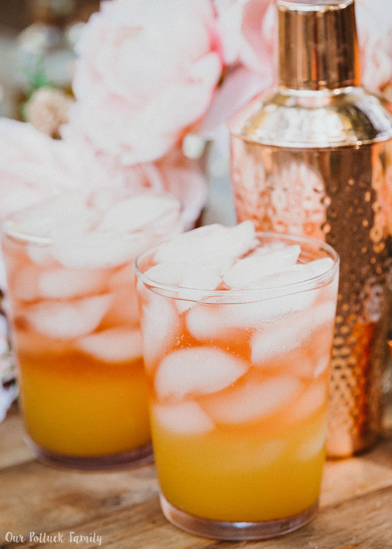 Peach Mango Sparkling Rosé Cocktail glasses