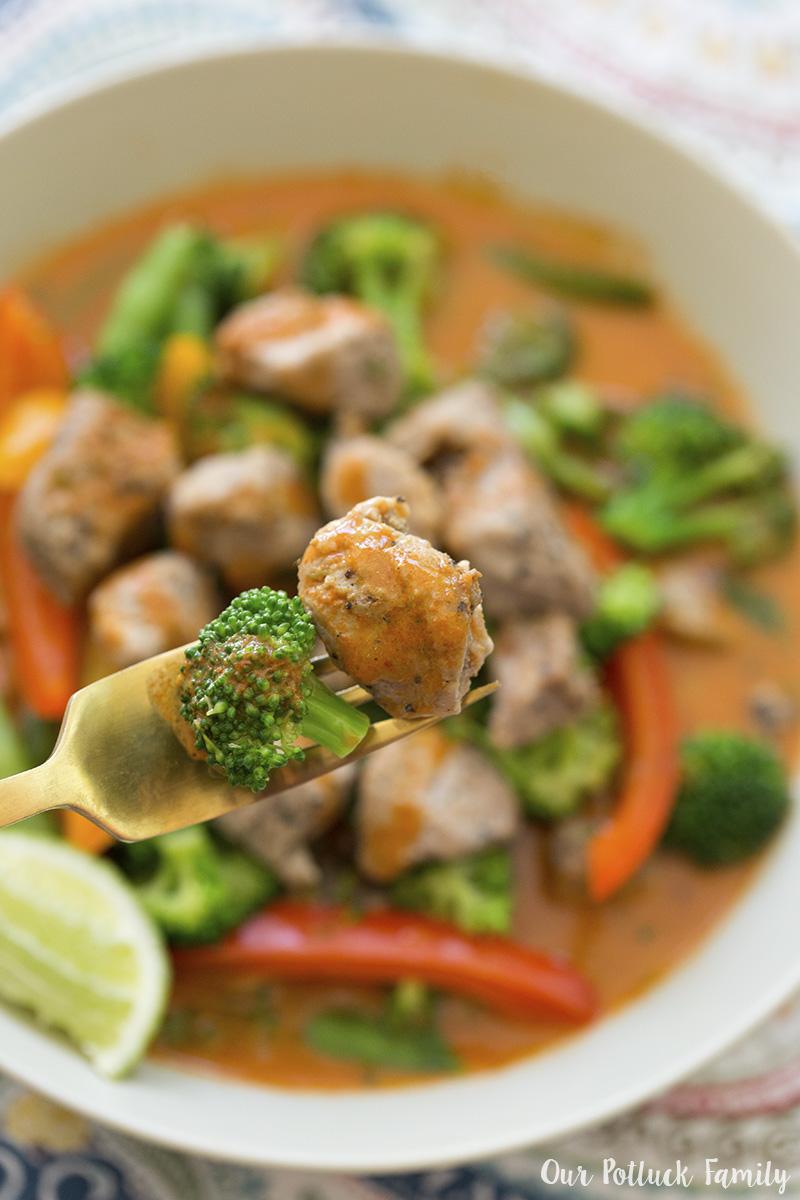 Pork Thai Red Curry close-up