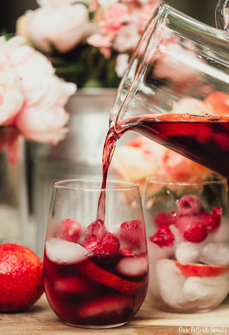Blood Orange Red Wine Sangria pour glass