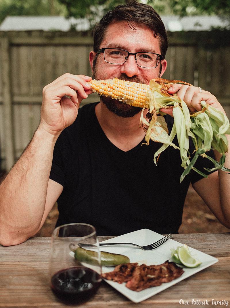 Steak and wine pairing corn