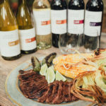 Steak and wine pairing plated