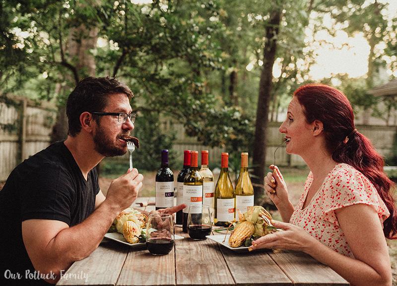 steak and wine pairing bite