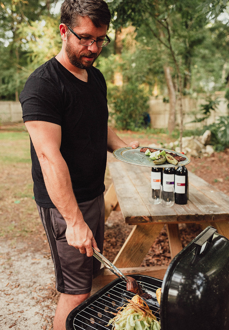 steak and wine pairing grill