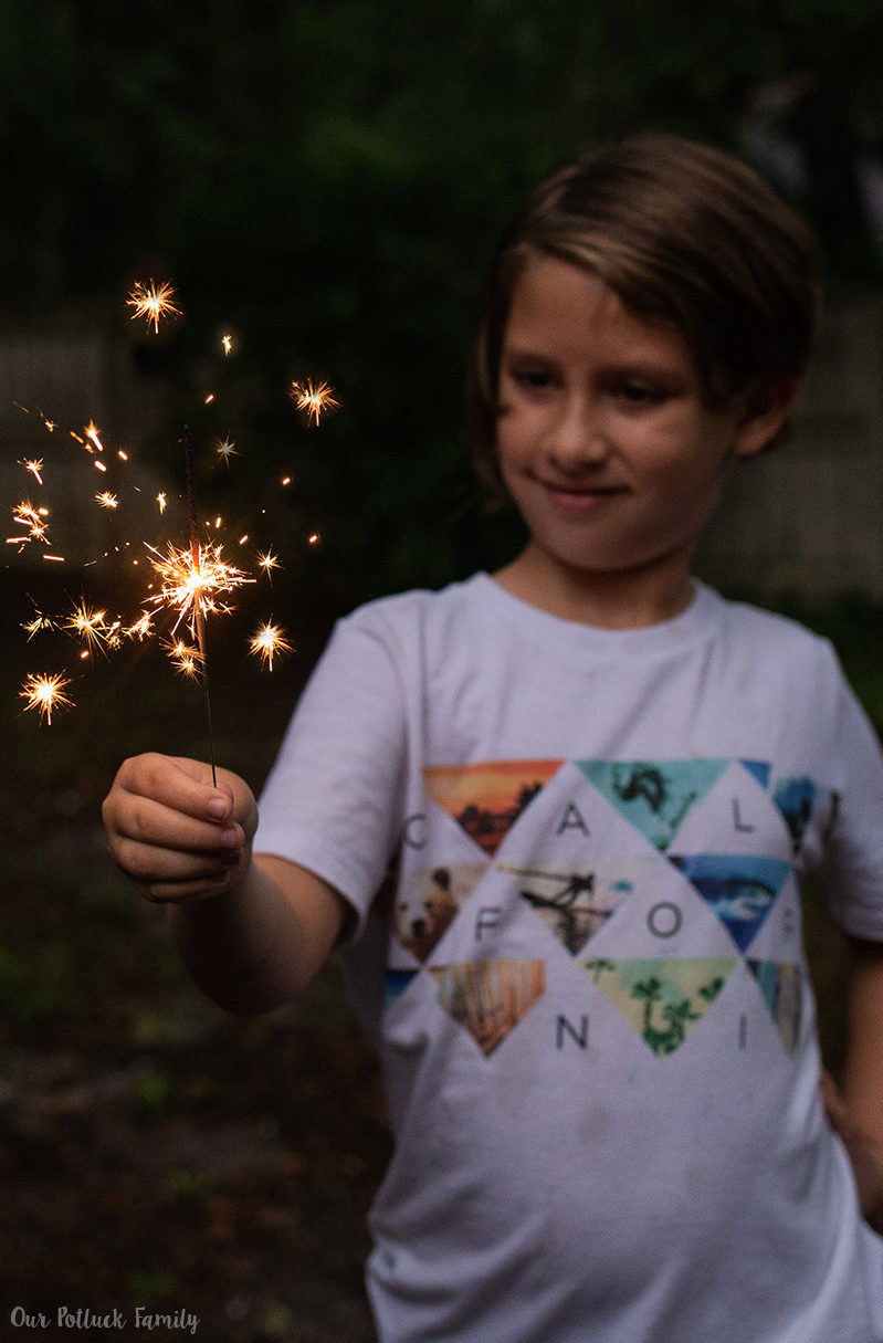 Patriotic Party Ideas boy sparkler