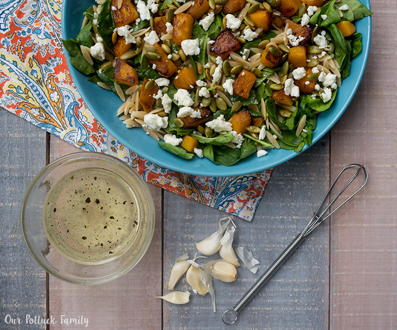 Butternut Squash Spinach Orzo Salad dressing