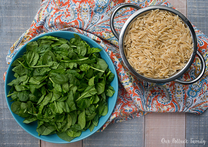 Butternut Squash Spinach Orzo Salad prep