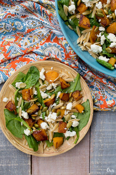 Butternut Squash Spinach Orzo Salad serving