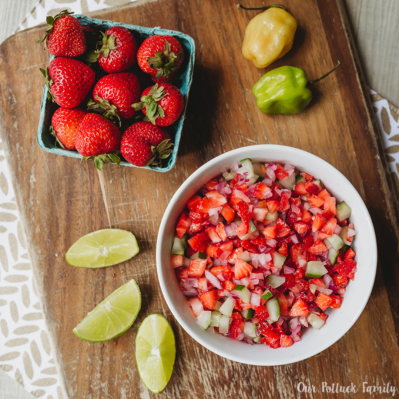 Strawberry Habañero Salsa chopped