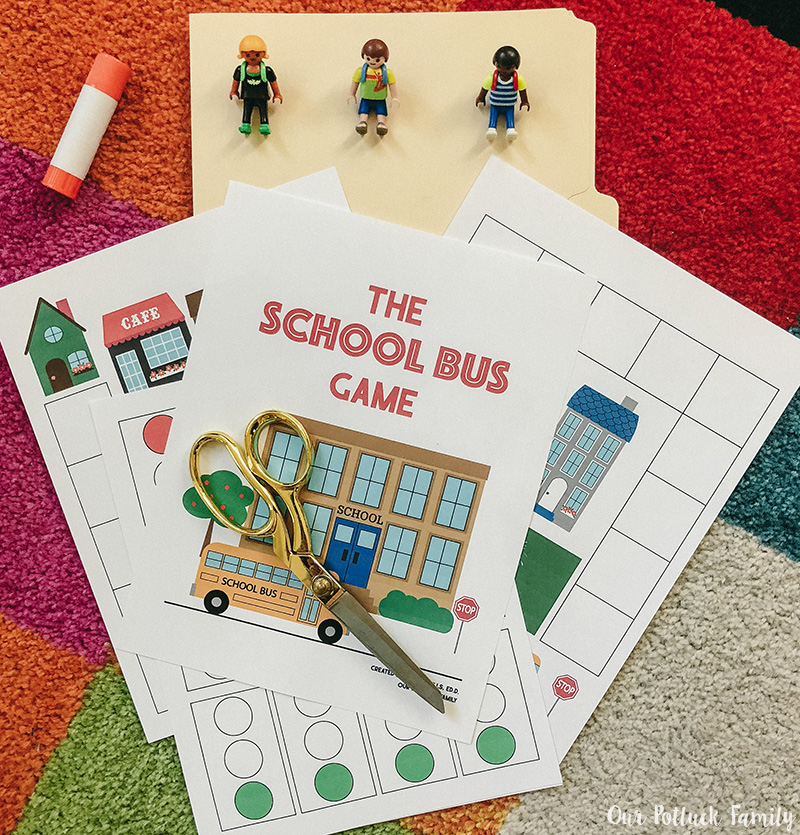 Printable School Bus Game pieces