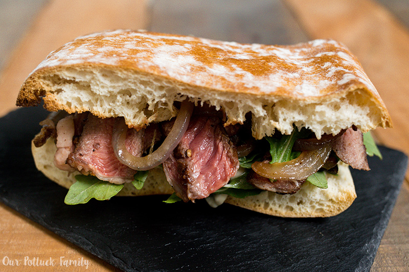 Ribeye steak sandwich plated