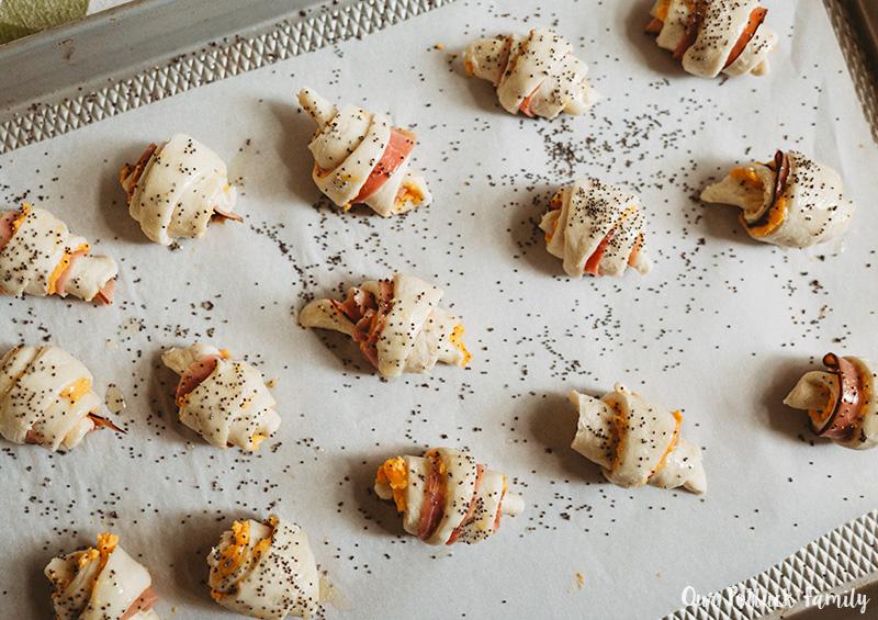 Mini Cheddar-Ham Croissant rolled