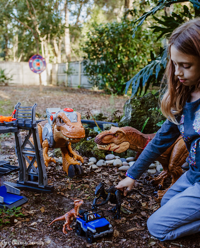 Outdoor Dinosaur Play girl