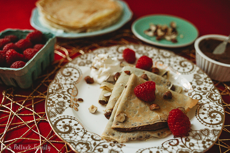 Chocolate-Hazelnut Raspberry Crepes plate
