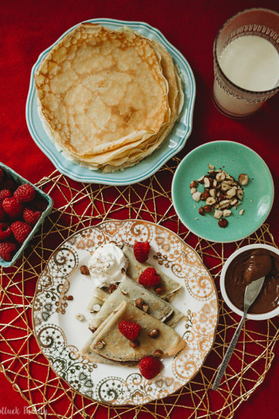 Chocolate-Hazelnut Raspberry Crepes spread