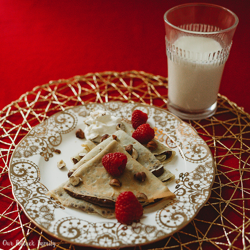 Chocolate-Hazelnut Raspberry Crepes with milk