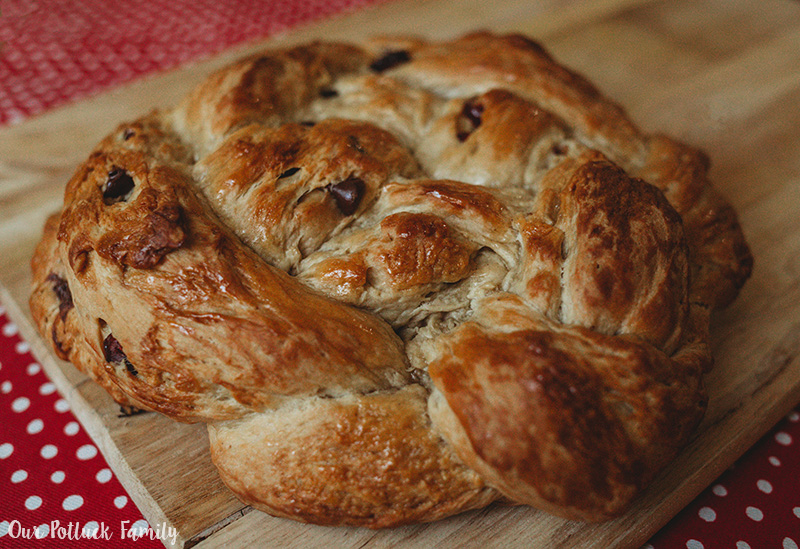 Chocolate Walnut Cranberry Bread braided