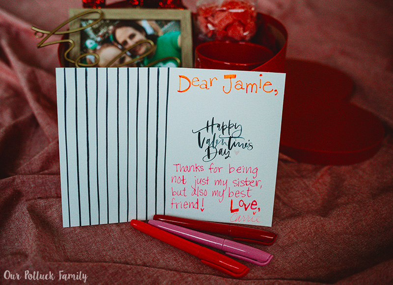 Sister Valentine's Day Care Package card