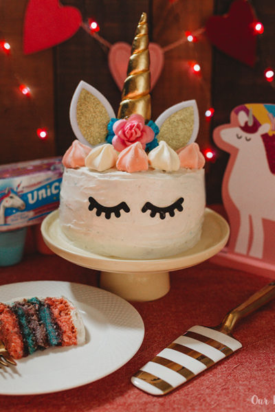 Easy Unicorn Rainbow Cake slice