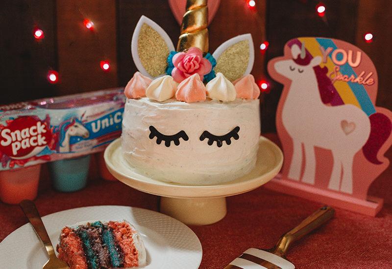 Easy Unicorn Rainbow Cake slice